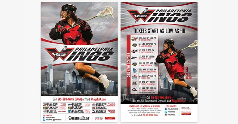 Philadelphia Wings Pro Lacrosse Team 2014 Marketing Materials - Posters and Magnets