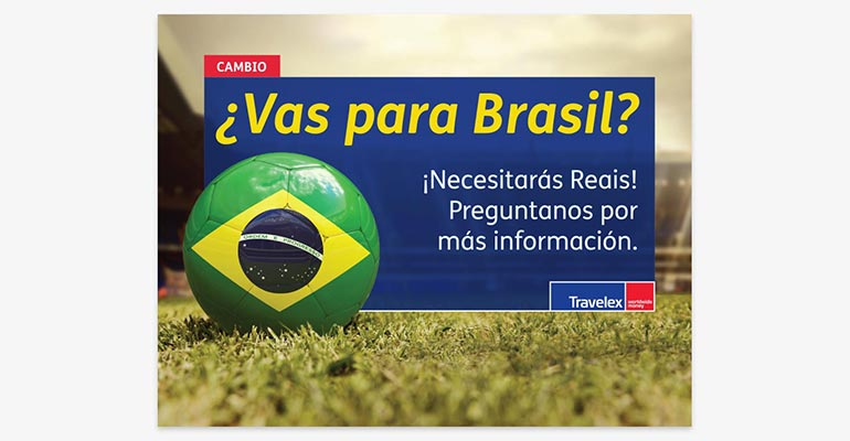 Travelex Currency Exchange Brazil World Cup Travel Counter Card